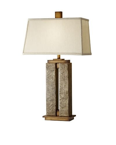Feiss Justice Table Lamp, Crackled Cream Finish with Faux Silver Silk Shade
