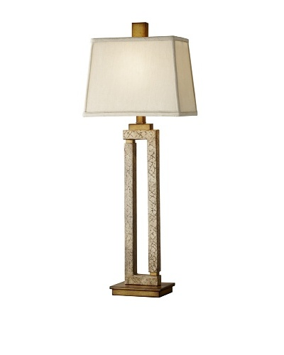 Feiss Lighting Justice Table Lamp, Crackled Cream/Silver