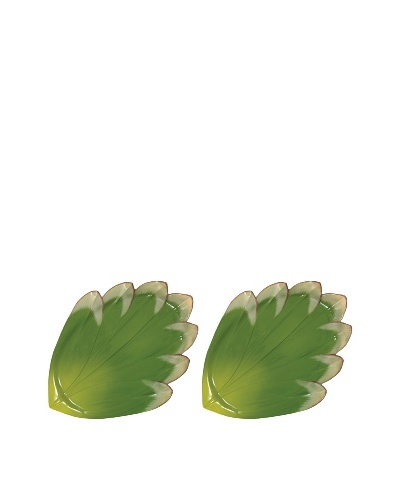 Mustardseed and Moonshine Set of 2 Gladiola Round Platters, Green