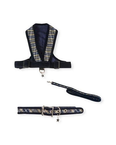 My Canine Kids Precision Fit Prep Harness, Collar & Lead Gift Set [Blue/Green Plaid]