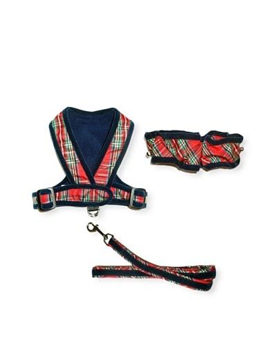 My Canine Kids Precision Fit Harness, Neck Scrunchie & Lead Gift Set [Plaid/Navy Velvet]