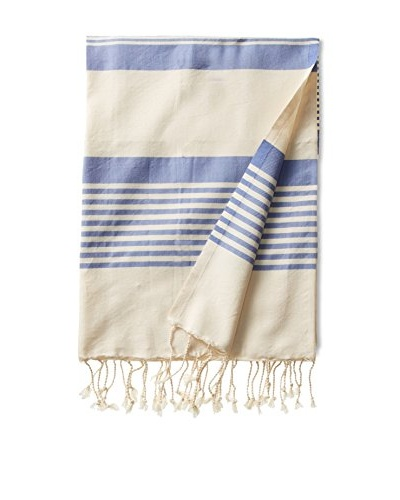Fouta Bath Towel, Honey Striped Blue