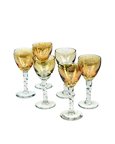 Set of 6 Vintage Iridescent Gold Cordial Glasses