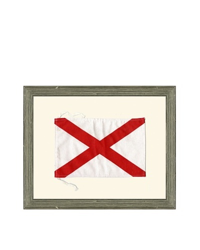 Framed Maritime Letter V Victor Signal Flag