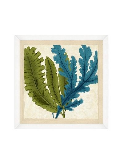 Watercolor Green & Teal Seaweed Crop Framed Print II