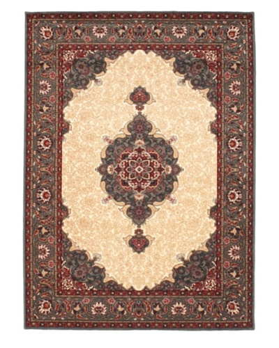 Royale Rug, Cream, Teal, 5' 7 x 7' 8