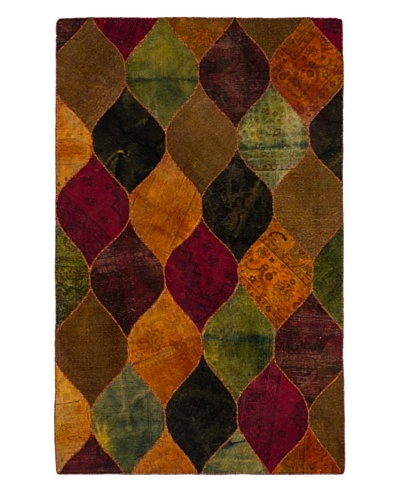 """Hand-Knotted Andelz Wool Rug, Green/Orange, 5' 1"""" x 8' 1"""""""