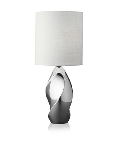 Nambe' Twist Accent Lamp, Polished Alloy with White Shade