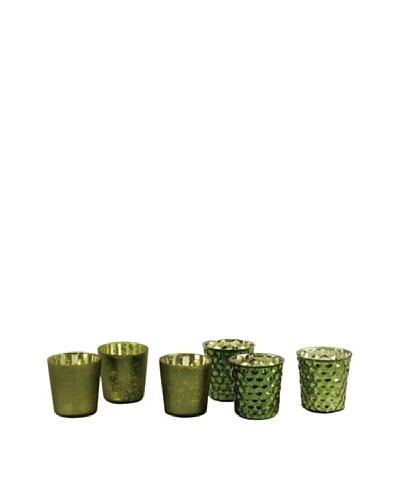 Napa Home & Garden Set of 6 Harvest Mercury Votives, Green