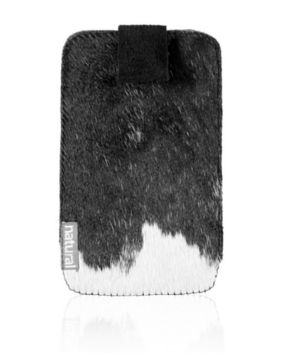 "Natural Cowhide iPhone Case, Black/White, 2.5"" x 5"""