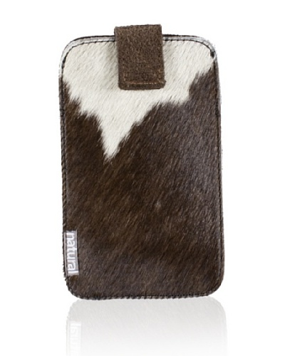 Natural Cowhide iPhone Case, Brown/White, 2.5 x 5