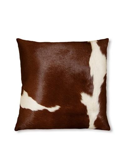 Natural Torino Cowhide Pillow, Brown/White, 16 x 16