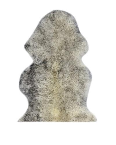 Natural New Zealand Single Sheepskin Rug, Gradient Grey, 2' x 3'