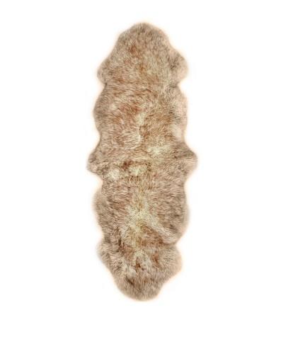 Natural Brand New Zealand Double Sheepskin Rug, Gradient Brown, 2' x 6'