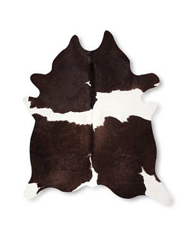 Natural Brand Kobe Cowhide Rug, Chocolate/White, 7' x 5' 5
