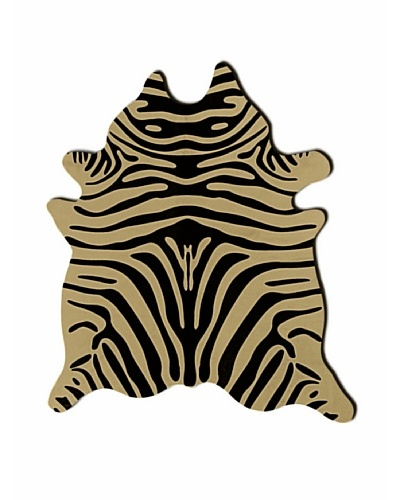 Natural Brand Togo Cowhide Rug, Black/Tan Zebra, 7' x 6'