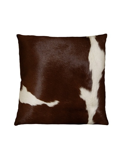 Natural Brand Torino Cowhide Pillow, Chocolate/White