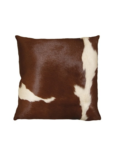 Natural Brand Torino Cowhide Pillow, Brown/White, 16 x 16