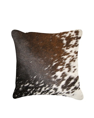 "Natural Brand Torino Cowhide Pillow, S & P Brown/White, 16"" x 16"""