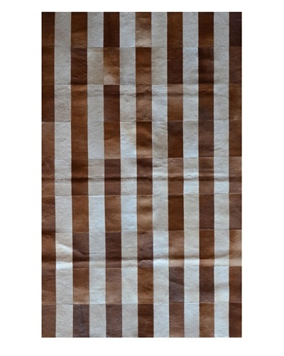Natural Brand Stitch Hide Rug [Stripe Brown/White]