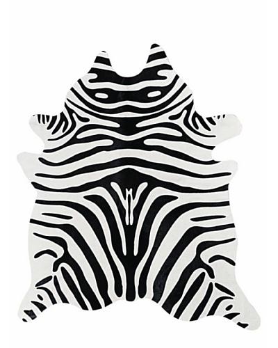 Natural Brand Togo Cowhide Rug, Zebra Black/Off-White, 6' x 7'