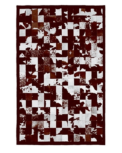Natural Brand Barcelona Cowhide Patchwork Rug, Brown& White, 5' x 8'
