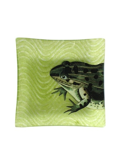 Victoria Fischetti Cropped Frog on Green Handmade Decoupage