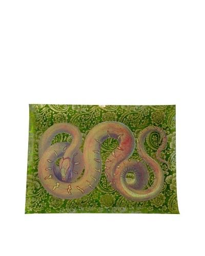 Victoria Fischetti Snake on Green Handmade Decoupage