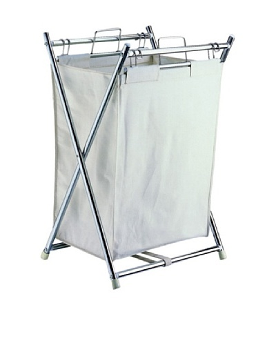 Neu Home Chrome Folding Hamper With Canvas Pull-Out Bag