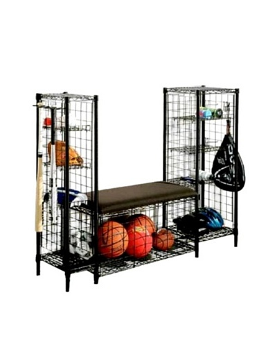 Neu Home Metal Sports Cushioned Bench With Side Towers, Black