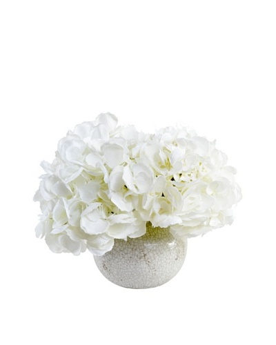 New Growth Designs White Hydrangea in Crackle-Glazed Fluted Clay Vase