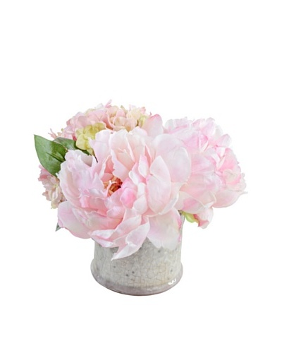New Growth Designs Hydrangea, & Peony Arrangement in Clay Jar