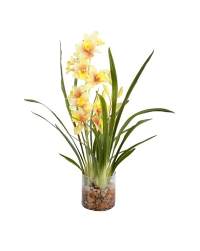 New Growth Designs Yellow-Red Cymbidium Vase