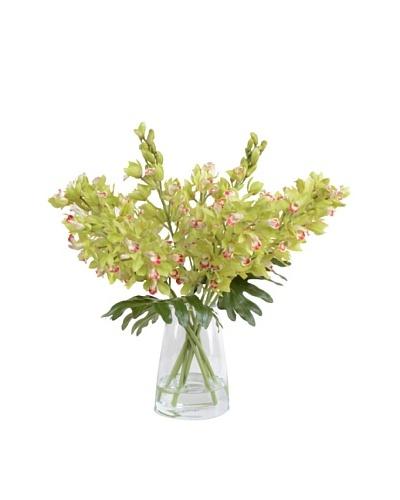 New Growth Designs Faux Cymbidium Orchid Vase, Green