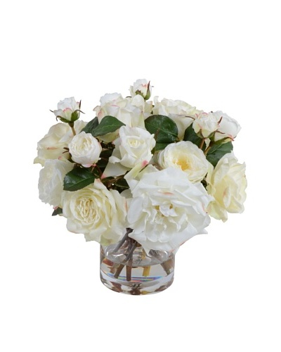 New Growth Designs White Roses in Glass