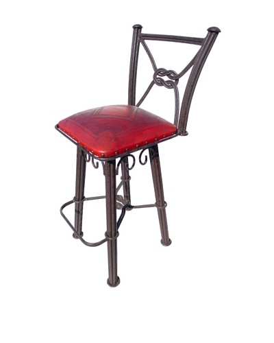 New World Trading Diamond Western Iron Barstool, Red