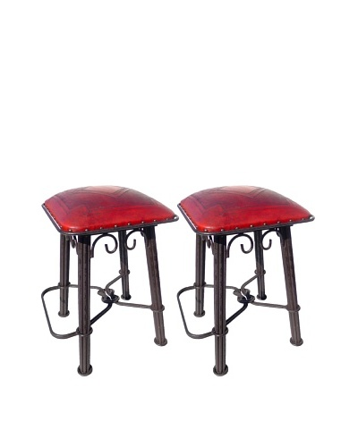 New World Trading Diamond Western Iron Counter Stool With Back, Red