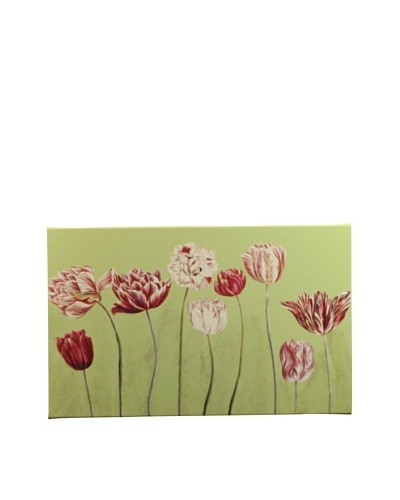 "New York Botanical Garden ""Fun Tulips"" Giclée on Canvas, Green"