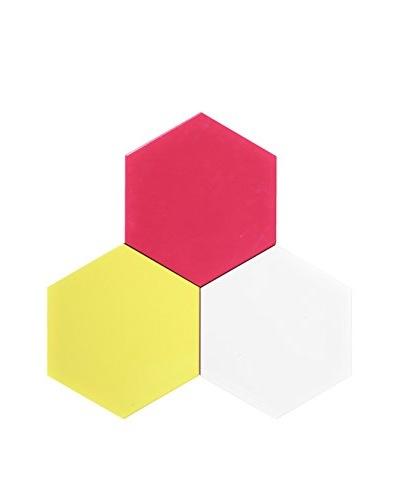 Nine6 Design Set of 3 Magnetic Dry Erasable Wall Panels, Yellow/Magenta/White