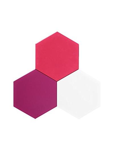 Nine6 Design Set of 3 Magnetic Dry Erasable Wall Panels, Violet/Magenta/White