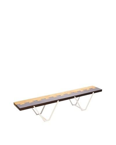 nine6 Design Dovetail Bench, White/Blonde/Brown
