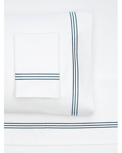 Nine Space Embroidered Sheet Set [White/Navy]