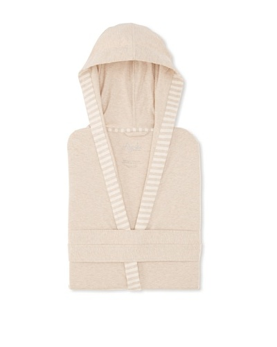 Nine Space Jersey Knit Robe with Striped Trim [Oatmeal]