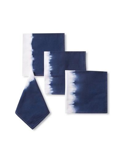 Nine Space Set of 4 Dip Dye Cotton Napkins, Blue