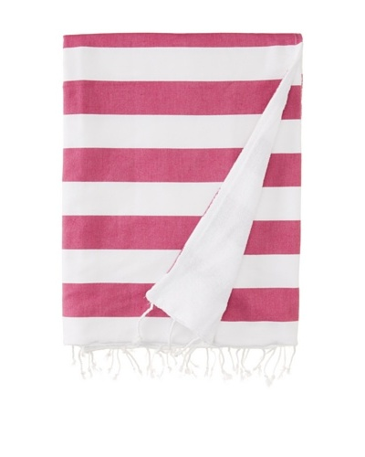 Nine Space Ayrika Beach Collection Wide Stripe Terry Fouta Towel [Pink]