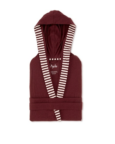 Nine Space Jersey Knit Robe with Striped Trim [Crushed Berry]
