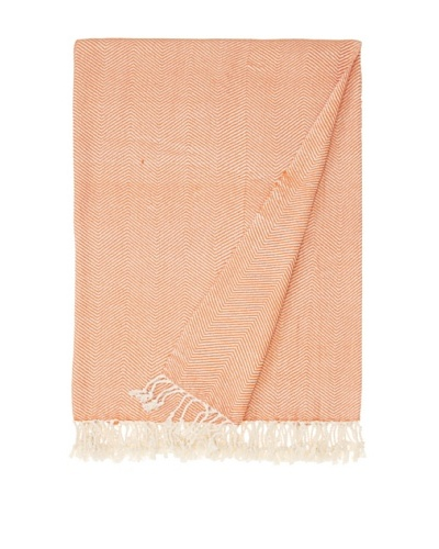 Nine Space Viscose from Bamboo Herringbone Throw, Orange/Cream