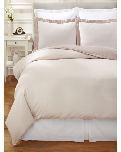 Nine Space Viscose from Bamboo/Cotton-Blend Stripes Duvet Cover Set [Ivory]