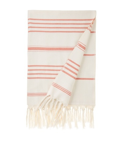 Nomadic Thread Society Turkish Hammam Throw/Towel, Natural/Dark Orange, 71x35