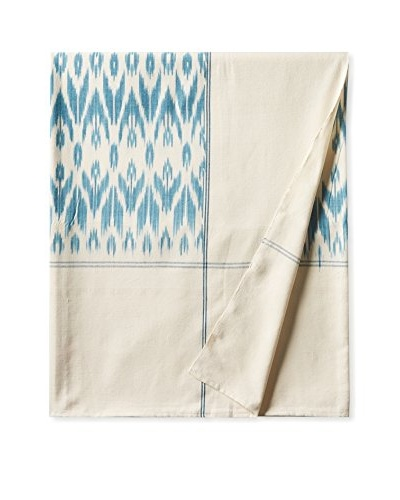 Nomadic Thread Society Ikat Bed Cover, Teal/White Warp, Queen